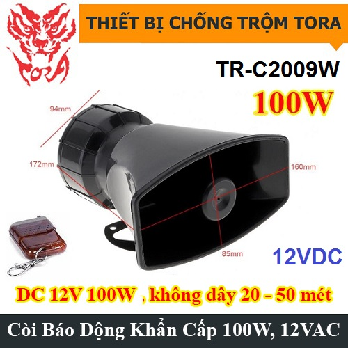 Còi hú báo động TR-C2009W 100W remote điều khiển từ xa, đại lý, phân phối,mua bán, lắp đặt giá rẻ